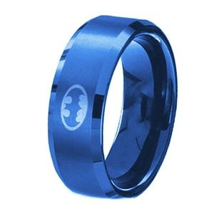 HP 8MM Men's Stainless Steel Band Ring Batman New